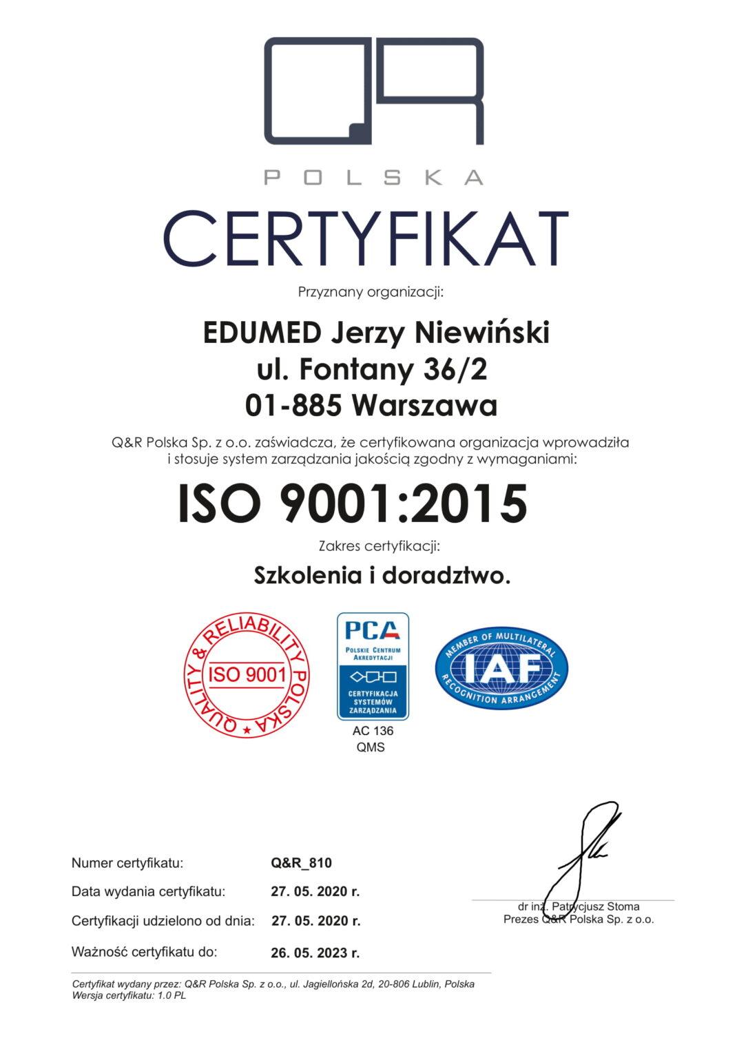 certyfikat QR 810 ver 1.0 2020